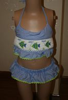Smocked 2 Piece Swimsuit Fish